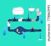 old sewerage. broken water... | Shutterstock .eps vector #778863991