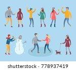 people in winter clothes vector ... | Shutterstock .eps vector #778937419