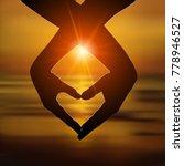loving couple makes a heart...