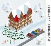 ski resort  slope  people on... | Shutterstock .eps vector #778948657