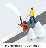 a man cleans snow from... | Shutterstock .eps vector #778948699