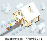 a man clears snow from...   Shutterstock .eps vector #778959241