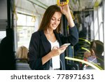 woman listening music on phone... | Shutterstock . vector #778971631