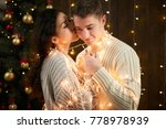 young couple kissing in... | Shutterstock . vector #778978939