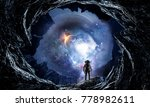 Space Hole And Astronaut. Mixe...