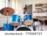 male teenage pupil playing... | Shutterstock . vector #779009737