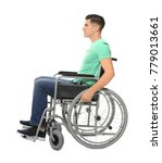 young man in wheelchair on... | Shutterstock . vector #779013661