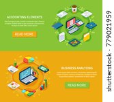 accounting isometric set of two ... | Shutterstock .eps vector #779021959