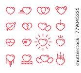set of red heart outline icon... | Shutterstock .eps vector #779045335