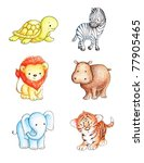 Collection Of Six Wild Animals...