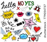 collection of colorful doodle... | Shutterstock .eps vector #779054737