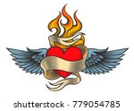flaming heart with wings and... | Shutterstock .eps vector #779054785