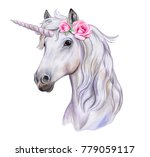 unicorn with a wreath of... | Shutterstock . vector #779059117