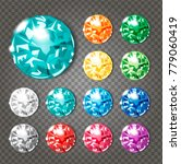 crystals icons set of 12 colors ... | Shutterstock .eps vector #779060419