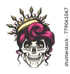 female skull with a crown and... | Shutterstock .eps vector #779061067