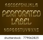 perforated label typeface.... | Shutterstock .eps vector #779062825