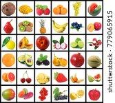 fresh fruit collage on white... | Shutterstock . vector #779065915