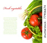 Fresh vegetables on the white with space for text. Top view. - stock photo