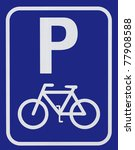 Bicycle parking sign - stock photo