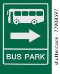 Roadsign, bus park - stock photo