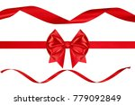 red shiny xmas ribbon bow and... | Shutterstock . vector #779092849