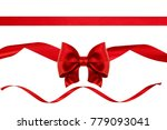 red ribbon bow with ribbons...   Shutterstock . vector #779093041