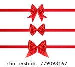 gift silk bows of red ribbon... | Shutterstock . vector #779093167