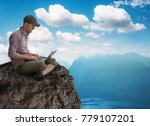 man working wireless outdoors... | Shutterstock . vector #779107201