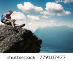 man working outdoors with... | Shutterstock . vector #779107477