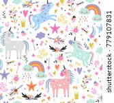 seamless pattern with unicorns. | Shutterstock .eps vector #779107831