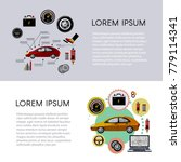 vector flat car service... | Shutterstock .eps vector #779114341