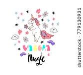 sweet unicorn poster or... | Shutterstock .eps vector #779130931