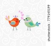 two happy cute bird in love... | Shutterstock .eps vector #779145199