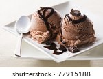 chocolate ice cream with syrup... | Shutterstock . vector #77915188