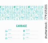 garbage concept with thin line... | Shutterstock .eps vector #779155201