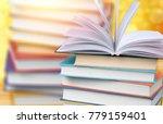 Open Book On Wood Desk