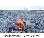 bonfire or campfire in stone... | Shutterstock . vector #779171191