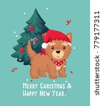new year icon yorkshire terrier ... | Shutterstock .eps vector #779177311