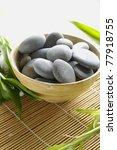 Bowl Of Stones With Bamboo Leaf ...