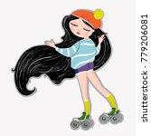 llustration girl vector skate... | Shutterstock .eps vector #779206081