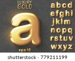 set of golden luxury 3d... | Shutterstock .eps vector #779211199