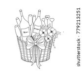 champagne and wine in basket... | Shutterstock .eps vector #779213251