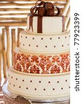 Layered White Wedding Cake Wit...