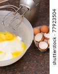 cake ingredients in bowl with... | Shutterstock . vector #77923504