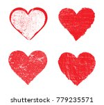 set of grunge hearts.vector... | Shutterstock .eps vector #779235571