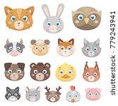 muzzles of animals cartoon... | Shutterstock .eps vector #779243941