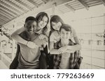 two couples of mixed races... | Shutterstock . vector #779263669