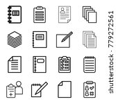 Stock vector notepad icons set of editable outline notepad icons such as paper notepad check list 779272561