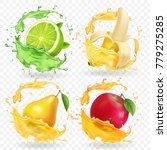 banana  apple  lime  pear juice ... | Shutterstock .eps vector #779275285