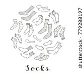 different doodle outline socks... | Shutterstock .eps vector #779288197